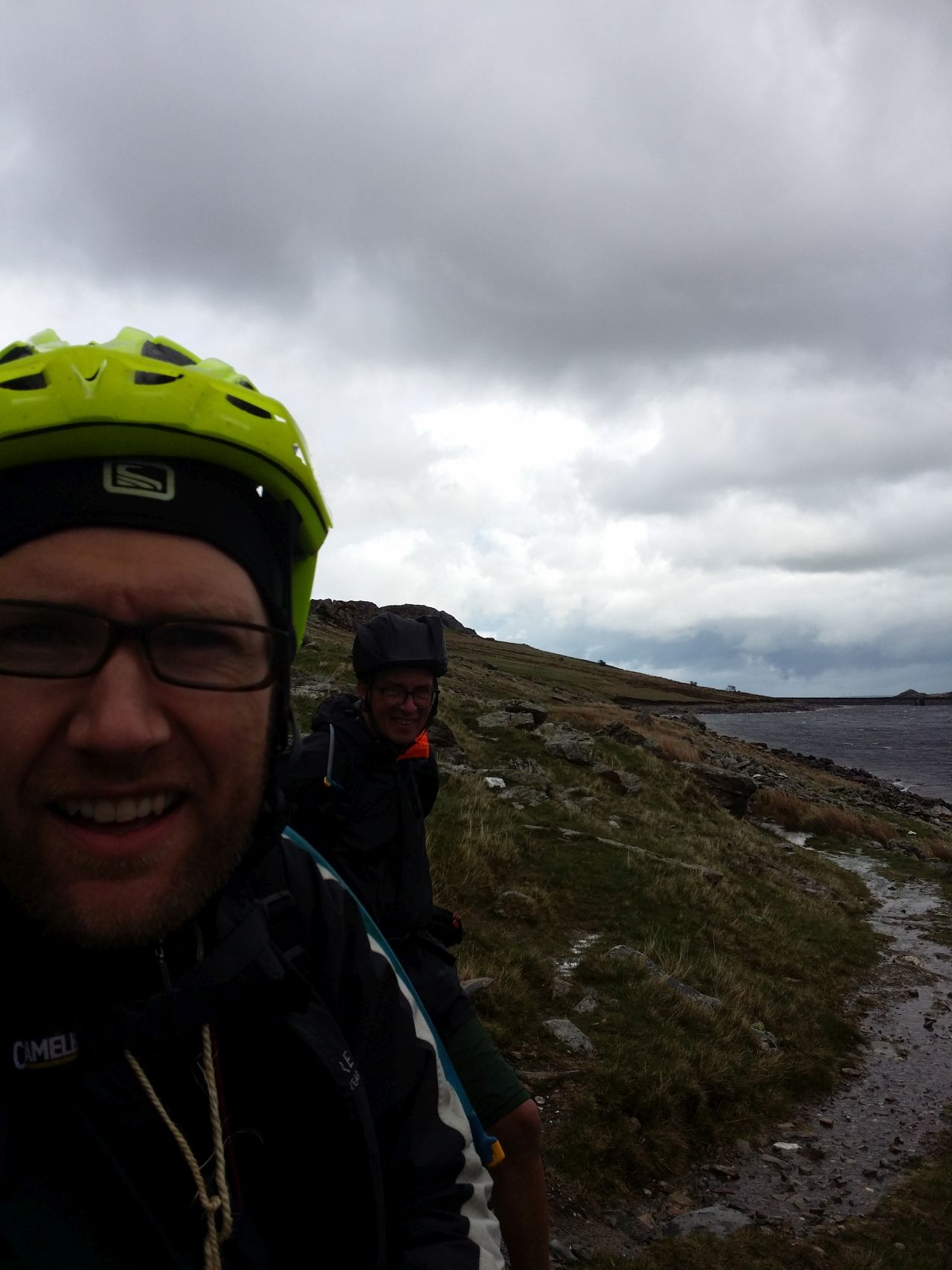 Day 1 - In gale force head winds and driving rain along Llyn Cowlyd reservoir