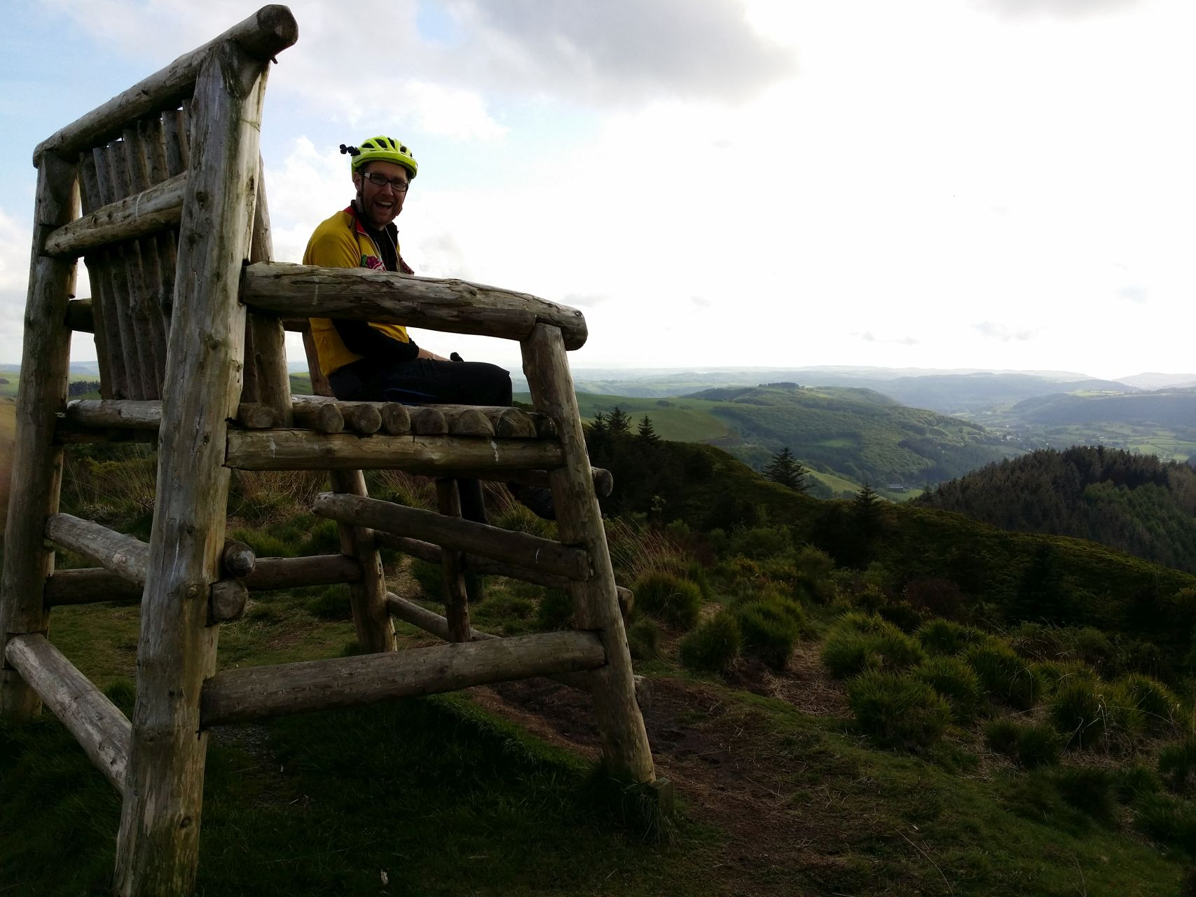 Day 4 - Jon sitting in the big chair at top of Nantyrarian