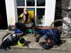 Day 3 - Jon at village shop in Bryncrug