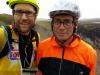 Day 4 - Jon & Paul beneath slopes of Foel Fadian ... Paul wearing a shower cap (yup)