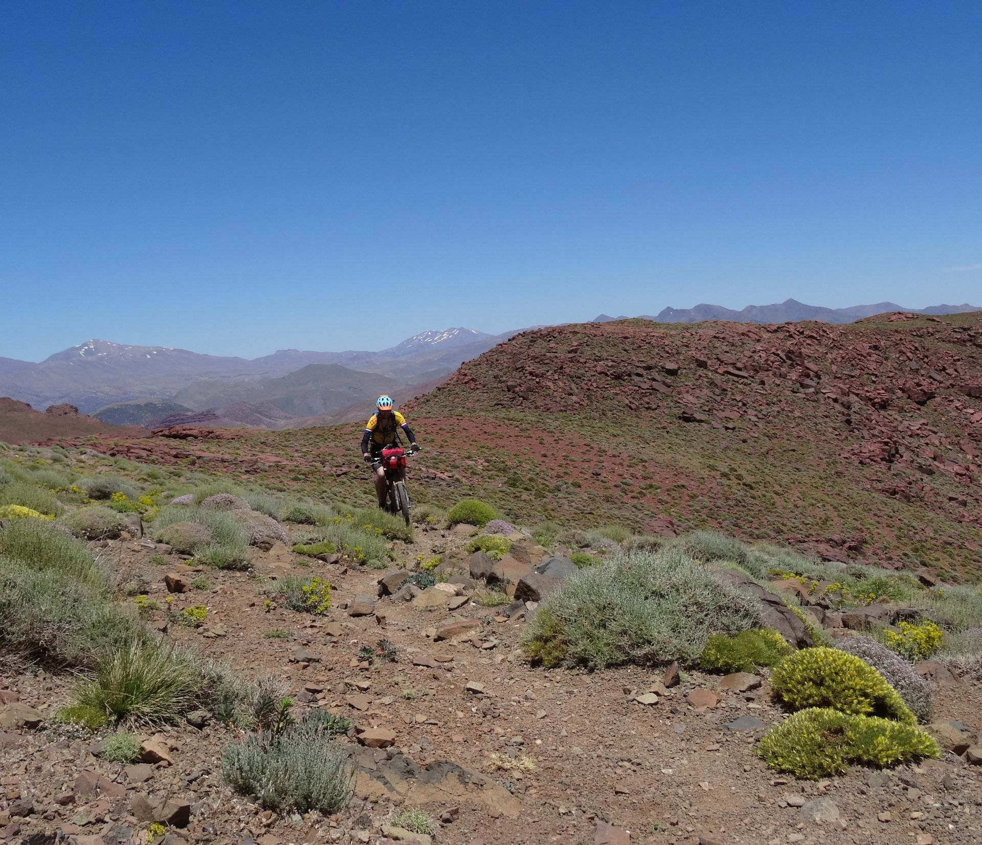 Day 6 - The trail toward the top of the Tizi-n-Tamadla pass (9,265 ft) is rideable in places though. © Steve Woodward