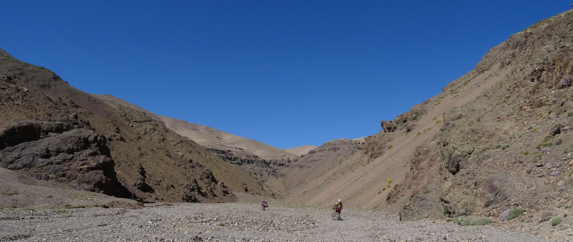 Day 6 - The moon, again. Seemingly-endless dried-up riverbed, beneath Tizi-n-Tamadla pass. Very, very slow going! © Steve Woodward