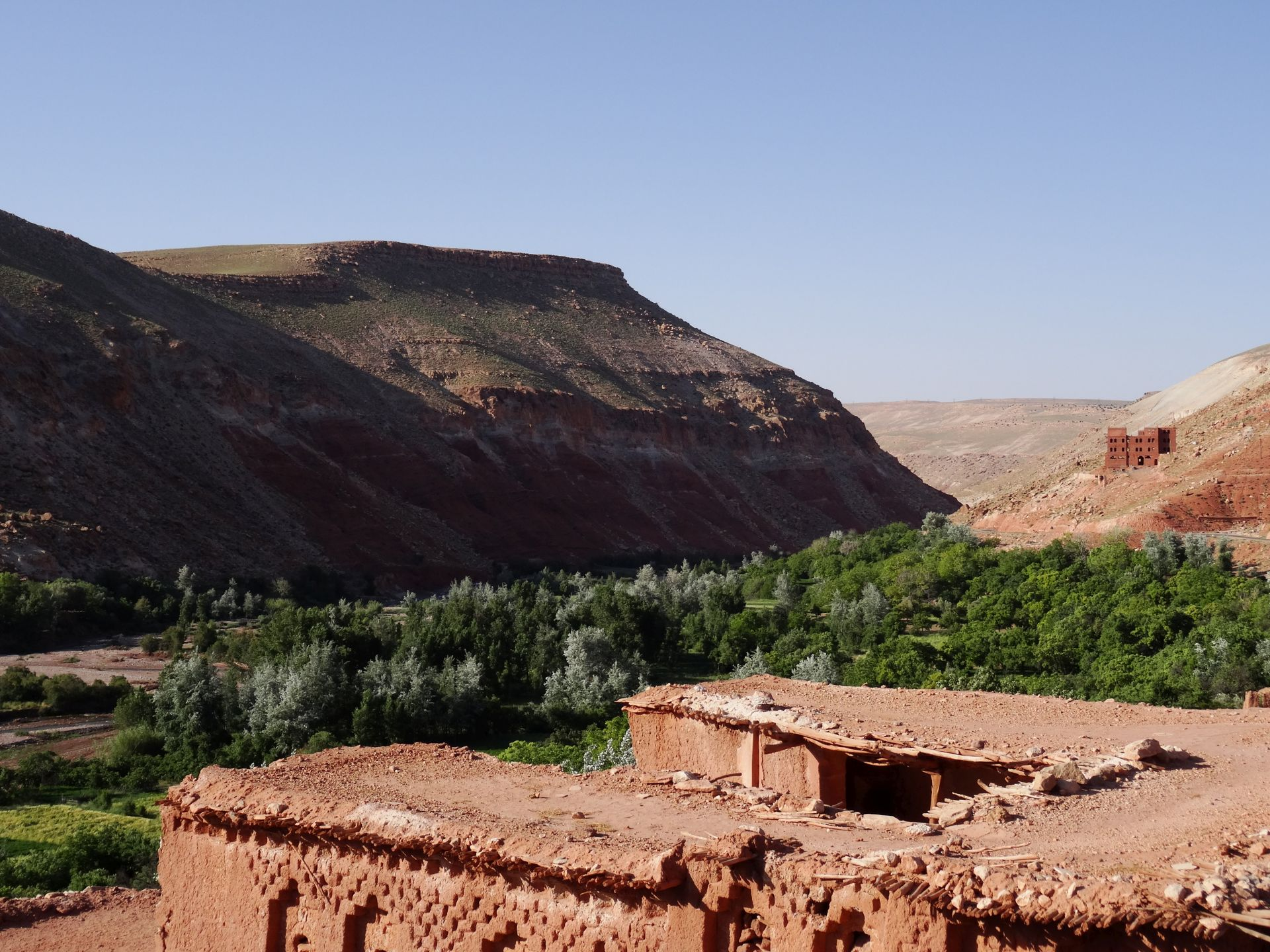 Rest Day A - The magnificent view from our roof terrace - just the place to rest up. Looking over the Asif Ounila valley from Kasbah Tigmi-n-Oufella in Anguelz, toward Jbel Amater (6,650 ft). © Steve Woodward