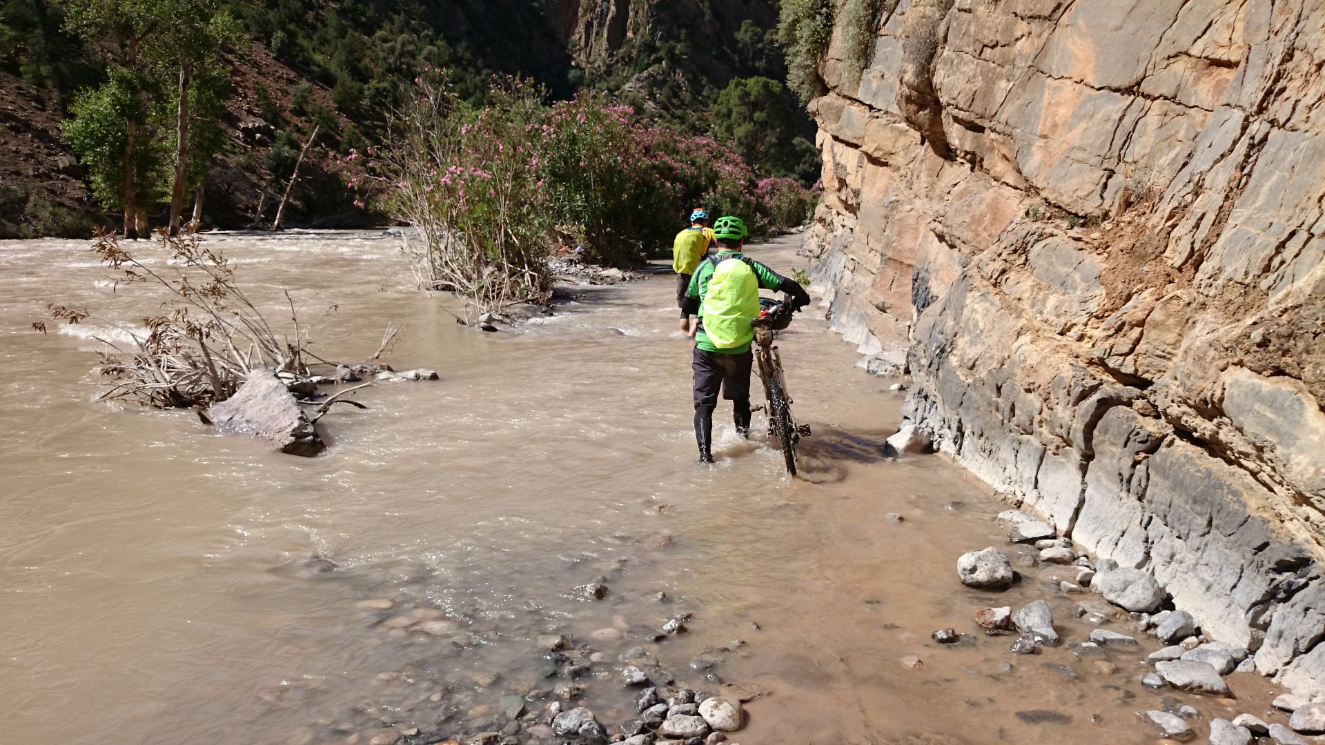 "Day 2 - Eek! ""Just passable"" indeed! Dry-bags at the ready! Assif Melloul gorge. © Shaun Grey"