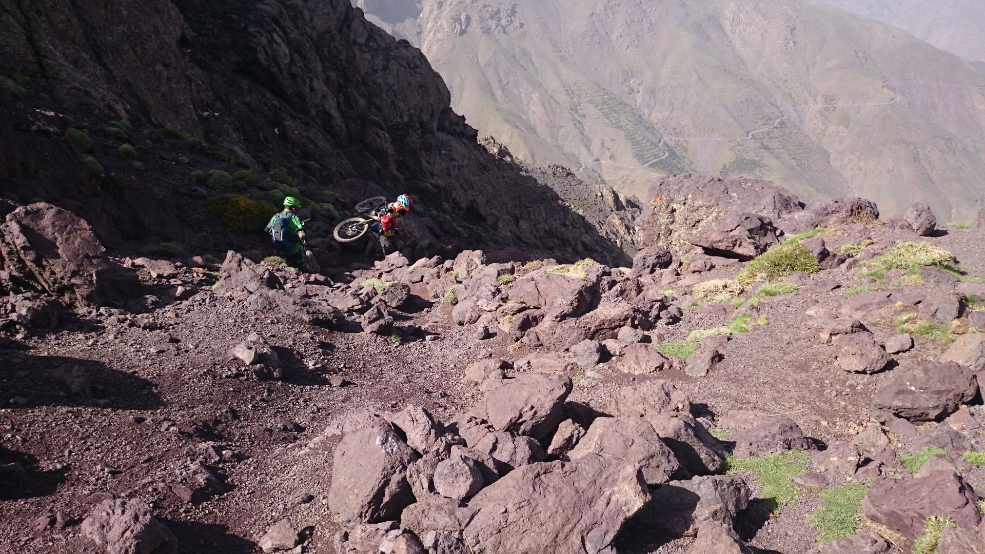 Day 8 - Into the Abyss ... rocks-aplenty. The rocky but fabulous descent from Tizi-n-Eddi to the village of Tizi-n-Tacheddirt. © Shaun Grey
