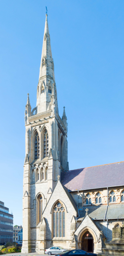 """""""The magnificent Gothic Revival church of Saint Peter in central Bournemouth dominates the town with its 202\' (61m) tall spire"""" by Bellminsterboy is licensed under CC BY-SA 4.0"""