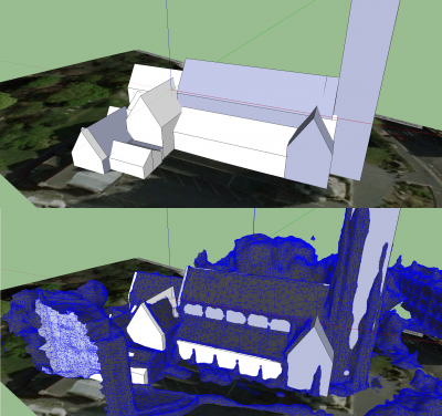 TOP: Emergent SketchUp model of St Peter\'s church<br/>BOTTOM: Same model of St Peter\'s church with DSM mesh overlaid - note the errors in the position of the vertices for many of the ridge lines and gable ends for the roof structures, which can be corrected by using the DSM mesh as a guide
