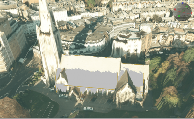 SOCET GXP model of St Peter's Church, Bournemouth – with textured DSM mesh used as a modelling guide