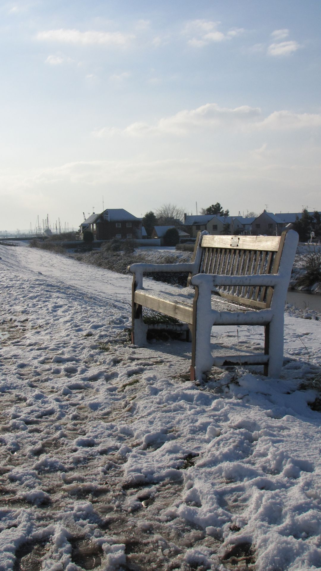 Heybridge Basin, Essex, UK - by the edge of the Blackater estuary during a 'cold snap'