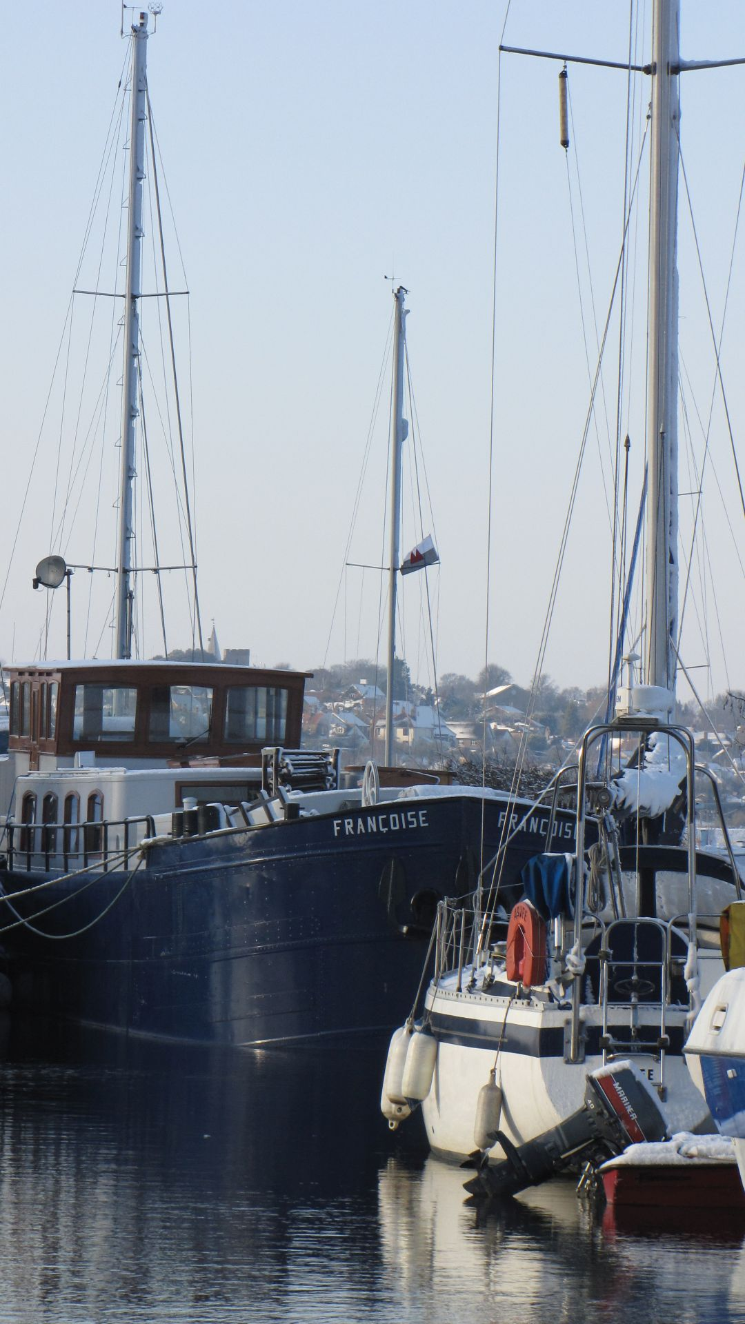 Heybridge Basin, Essex, UK - boats moored on the canal for the winter