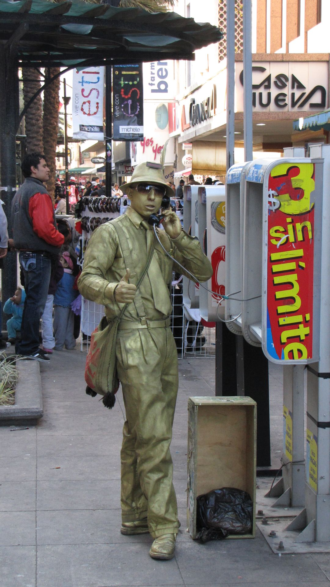Monterrey, NL, Mexico - Even human-statues need to make a call every now and then