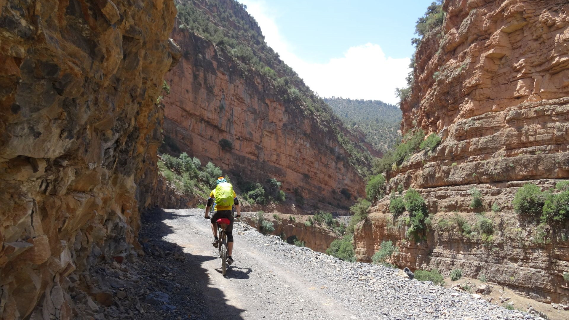 """Riding through the stunning Assif Melloul Gorge, in Morocco. Taken on """"Day 2"""" of our 2-week, unsupported traverse of the High Atlas in 2015"""