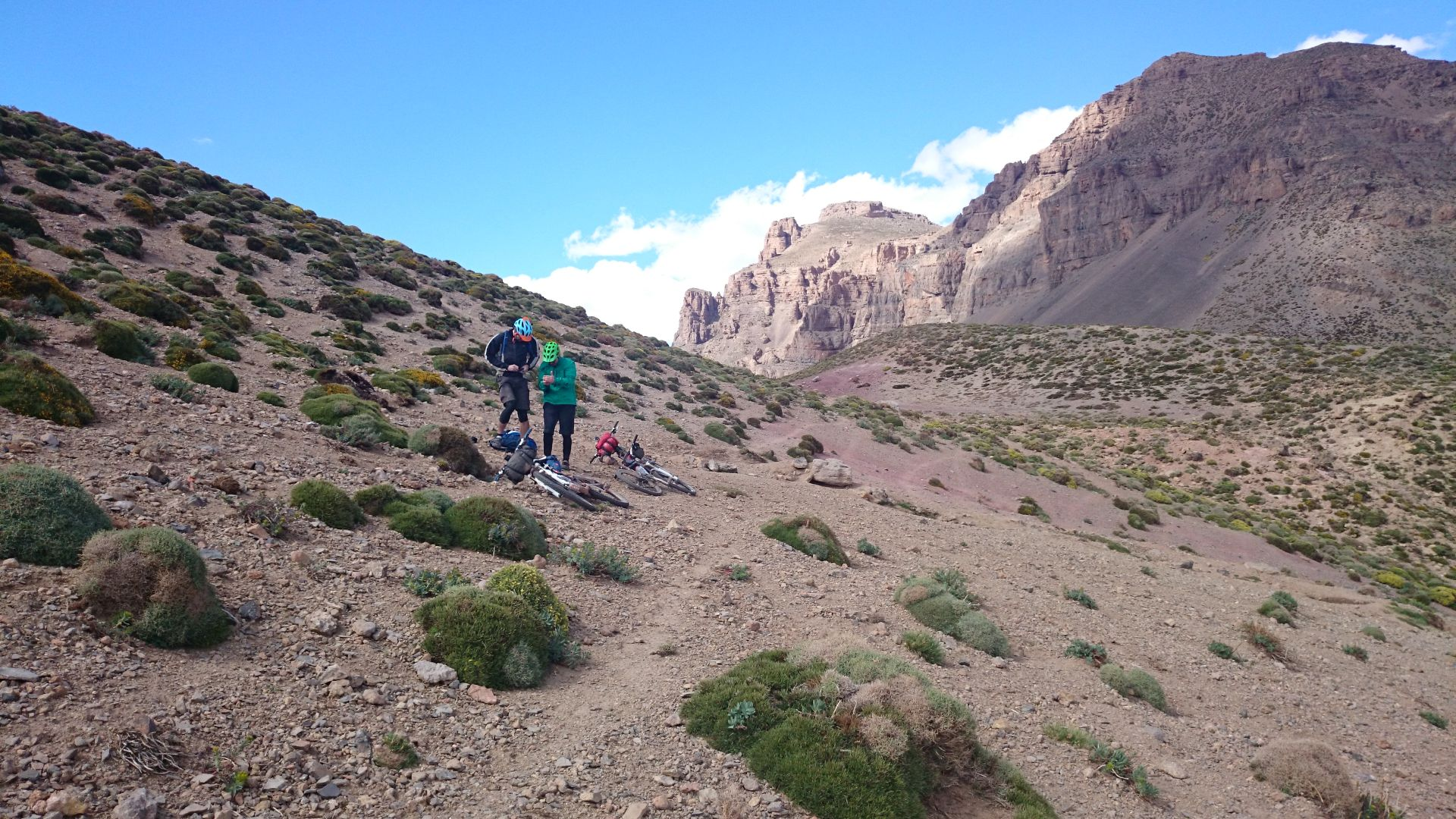 """At the top of the Tizi-n-Rughuelt pass, at 9,521 ft, in the High Atlas mountain of Morocco, with Steve & Shaun. Taken on """"Day 4"""" of our 2-week, unsupported traverse of the High Atlas in 2015"""