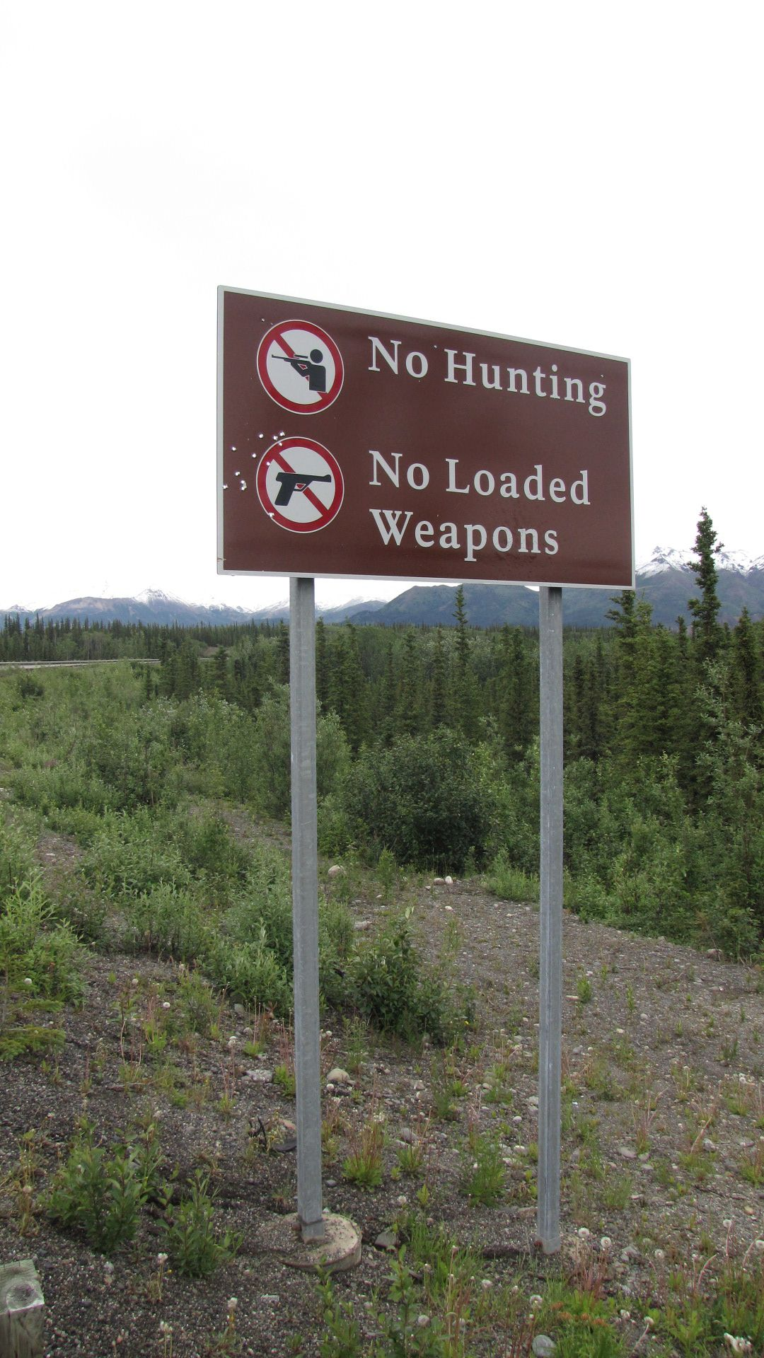 Denali Nat Pk - Alaskan 'Right to bear arms' statement (look closely at the mid-left of the sign...)