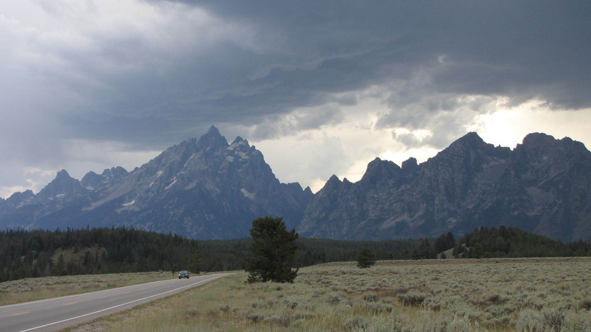 Grand Teton Nat Pk, WY, USA - Biblically proportioned storm approaches...now starts the race to get to the campsite (15 miles) & pitch the tent before the impending maelstrom