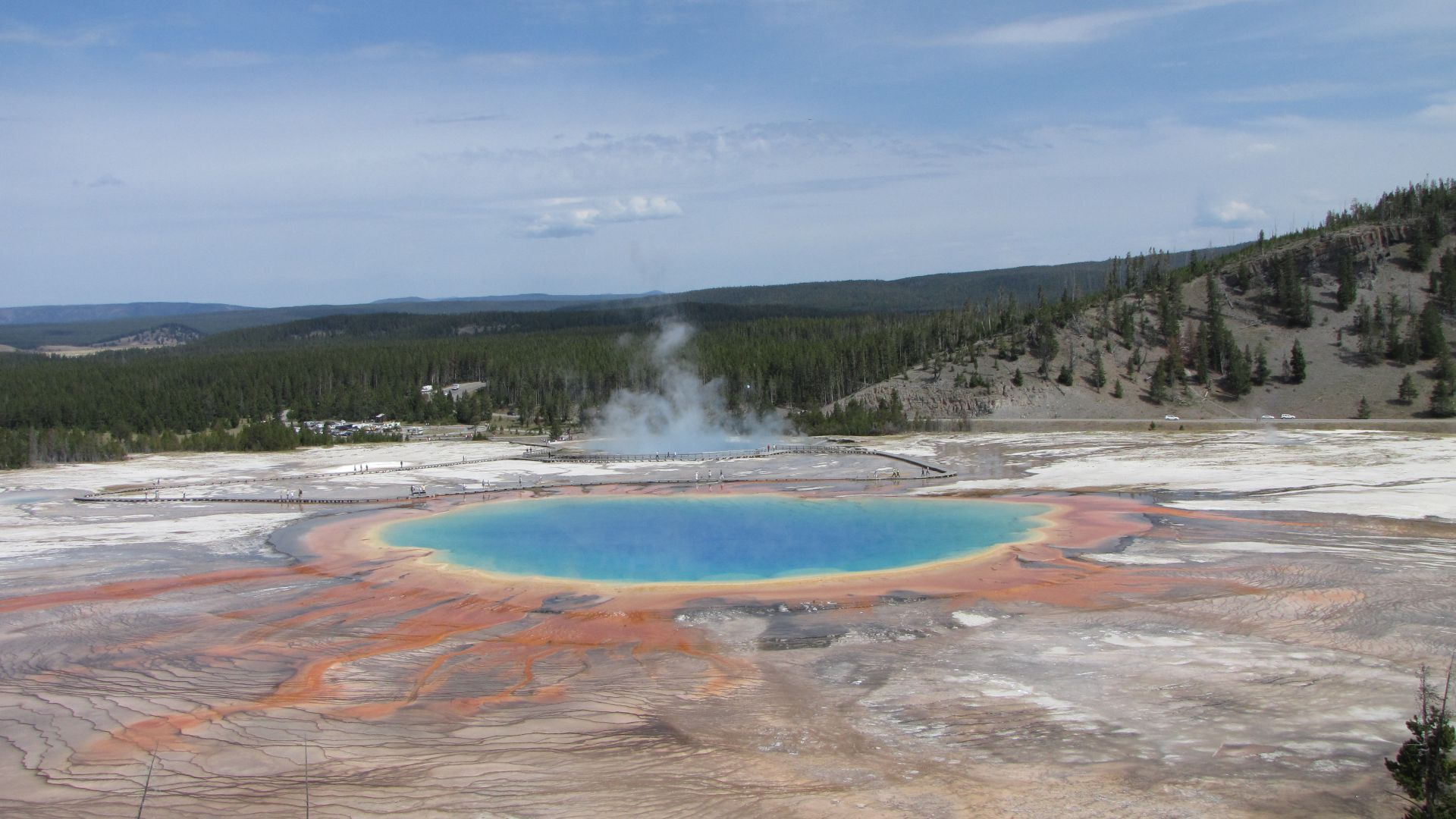 Yellowstone Nat Pk, WY, USA - \'Grand Prismatic\' v pretty, hiked up after some off-roading with the bike to get this view