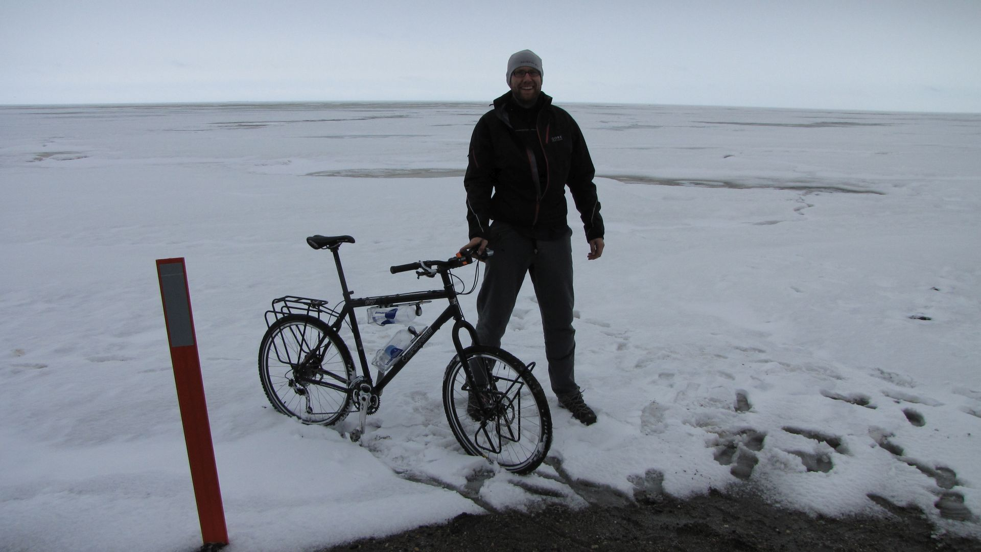 Prudhoe Bay, Arctic Ocean \'wheel dip\' - Ok its frozen but that thar is the Arctic Ocean (just finished rebuilding Charles 5 mins before)