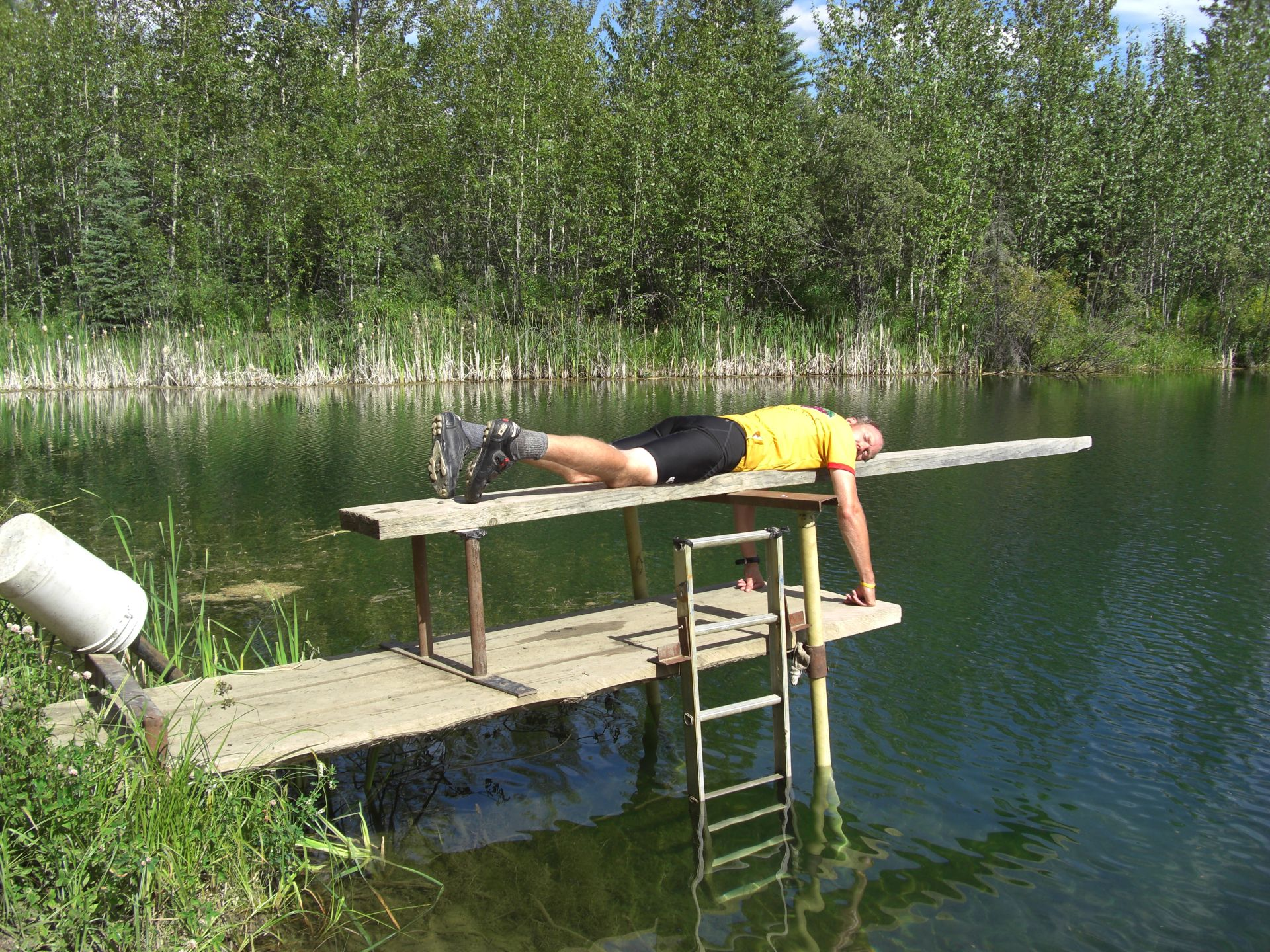 Nr Fort St John, YT, Canada - You get kinda good at sleeping anywhere... (pic courtesy of the Budwegs)