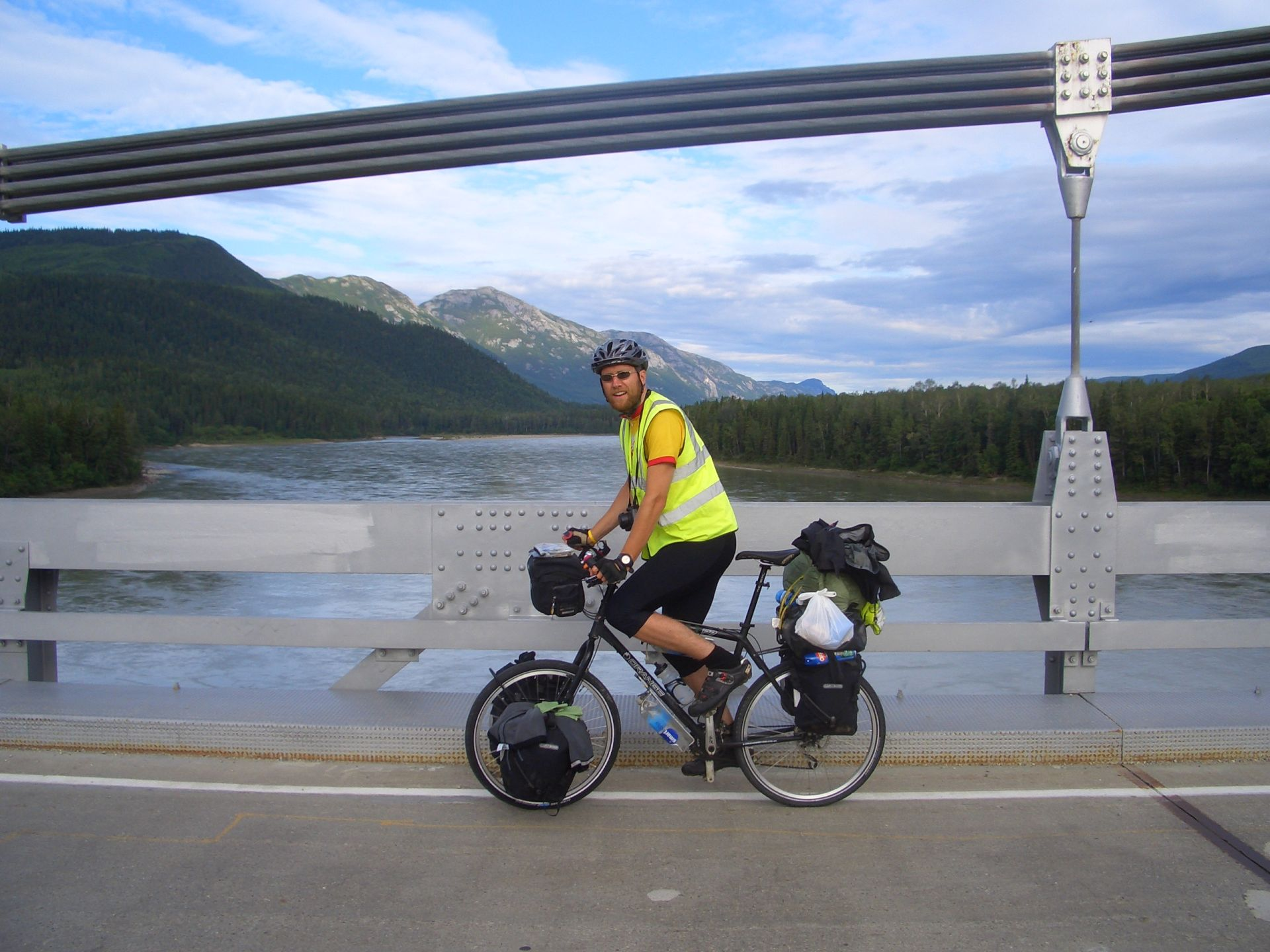 Nr Liard Hot Springs, YT, Canada - lining up for attemped \'trackstand\' with panniers...eek! ;)