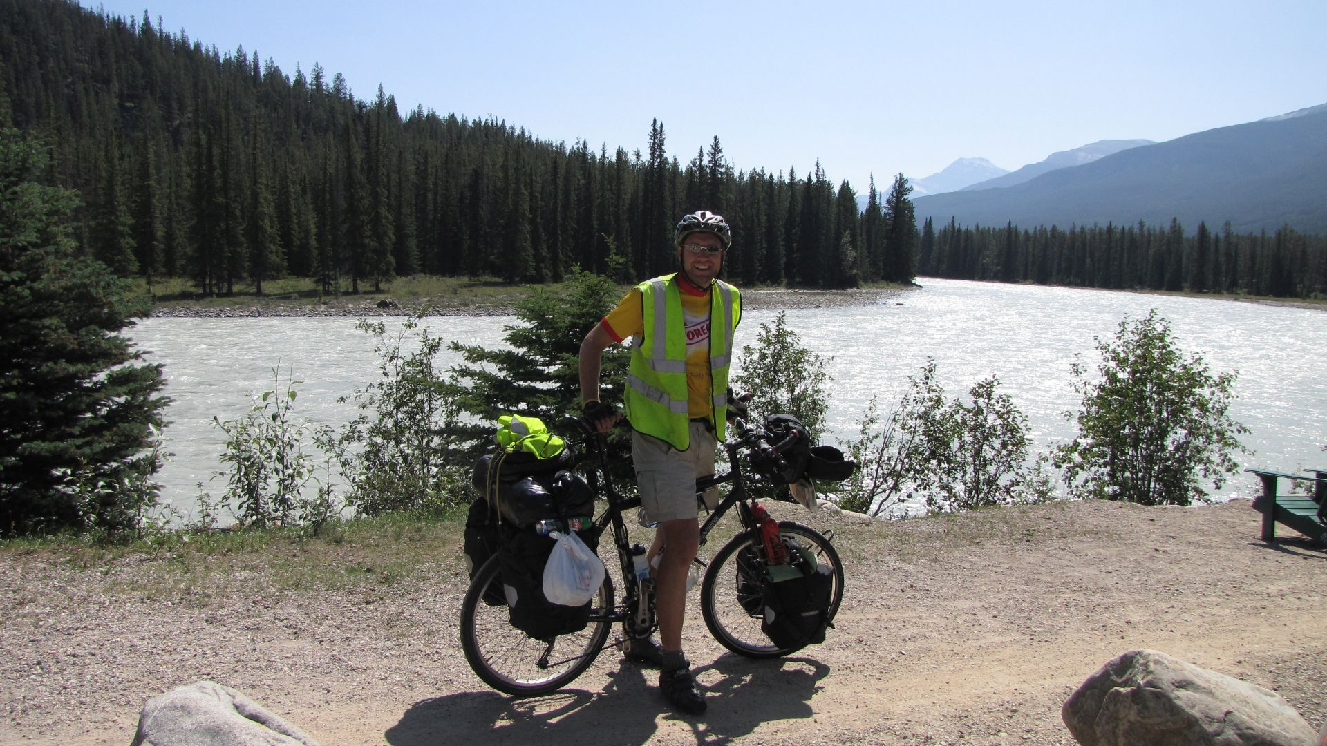 Nr Jasper, Alberta, Canada - After a few days off bike, I start off along the (astonishing) Icefield\'s Parkway toward Lake Louise / Banff