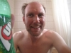 Eureka, Montana, USA - Happy man in bath