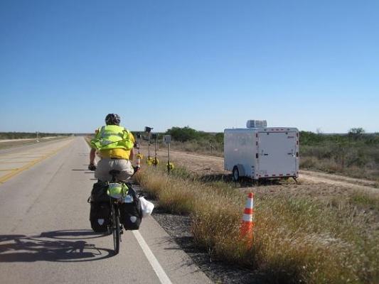 Nr Langtry, TX, USA - I ride past the security cameras of the US (mexican) Border Patrol