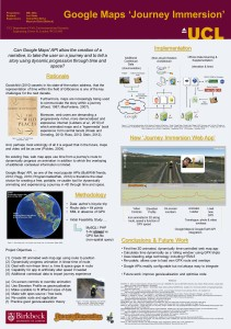 'Google Maps Journey Immersion' Dissertation Poster